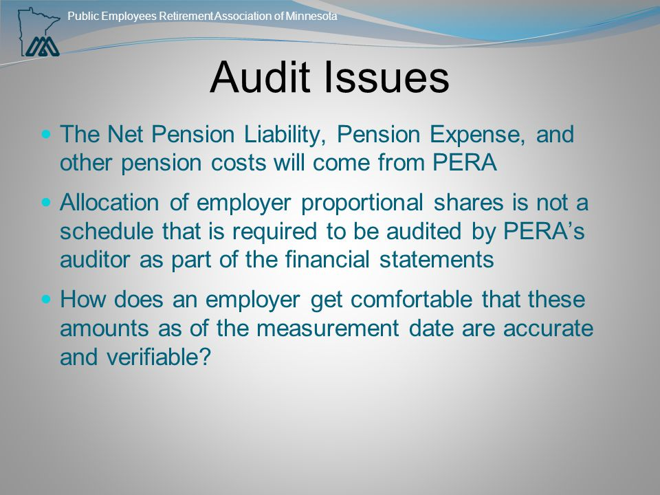 Public Employees Retirement Association of Minnesota Audit Issues The Net Pension Liability, Pension Expense, and other pension costs will come from P
