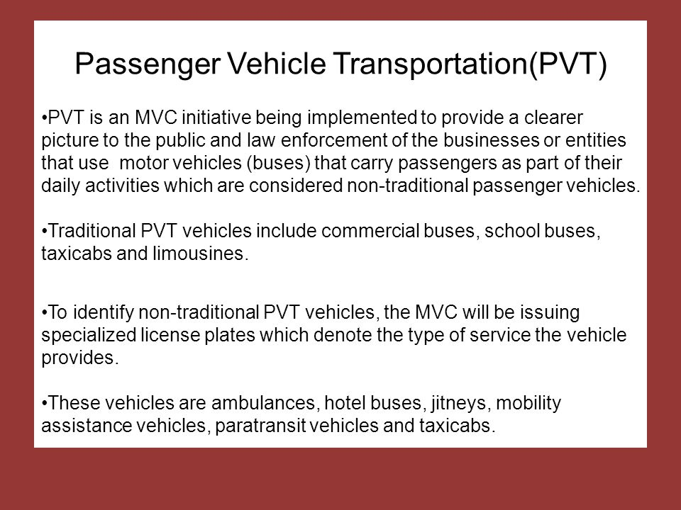 Passenger Vehicle Transportation