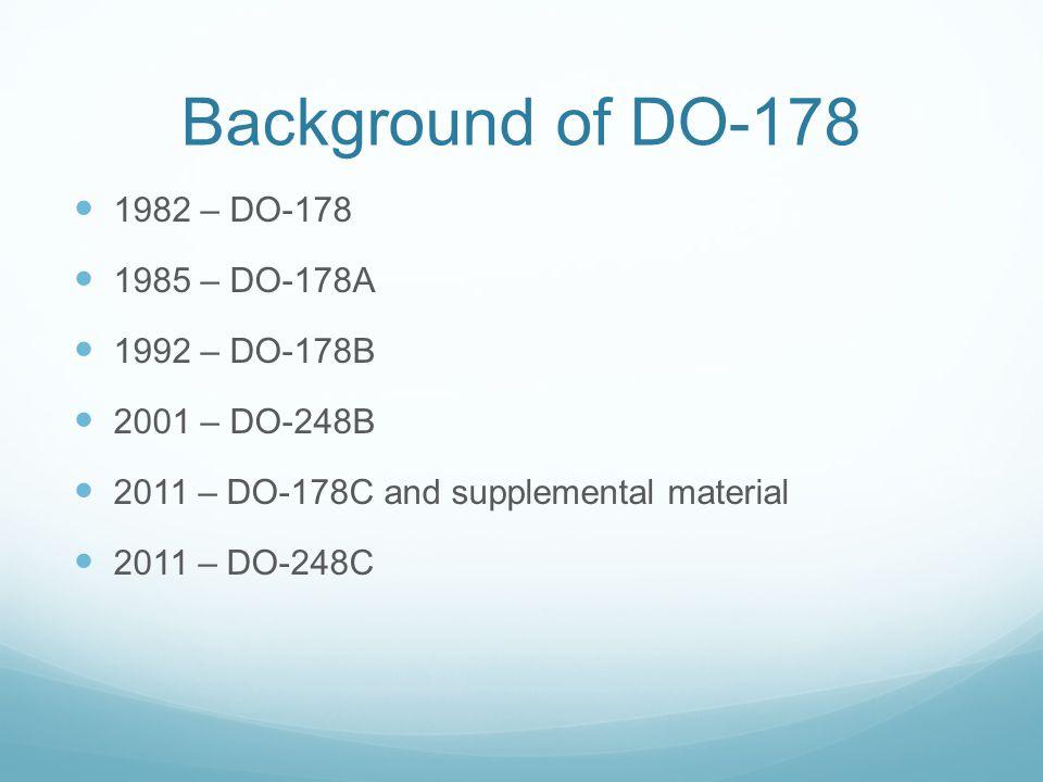 Background of DO-178 1982 – DO-178 1985 – DO-178A 1992 – DO-178B 2001 – DO-248B 2011 – DO-178C and supplemental material 2011 – DO-248C