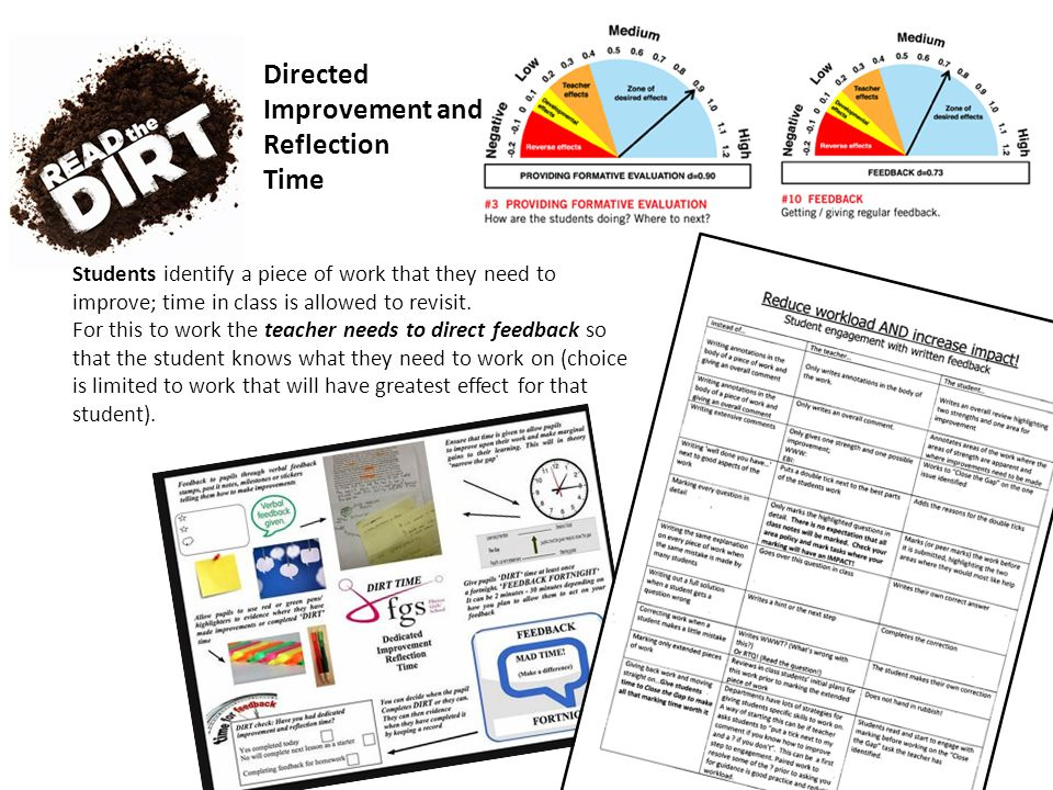 Directed Improvement and Reflection Time Students identify a piece of work that they need to improve; time in class is allowed to revisit.