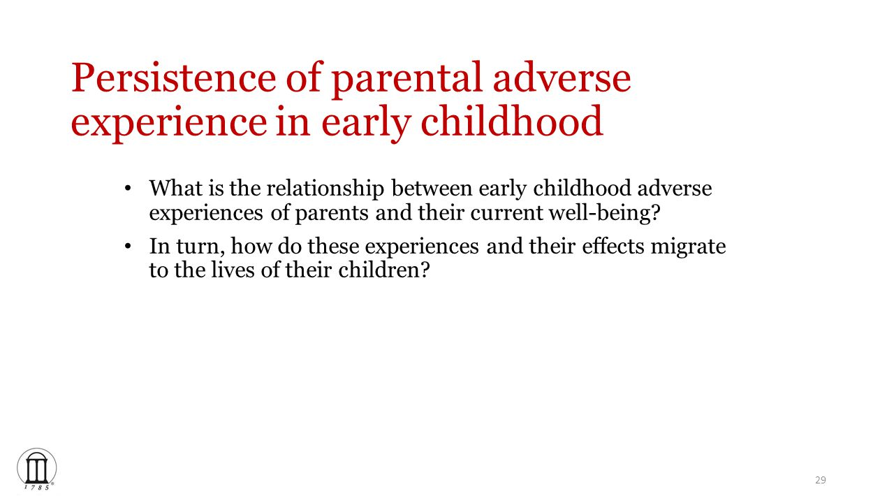 Persistence of parental adverse experience in early childhood What is the relationship between early childhood adverse experiences of parents and their current well-being.