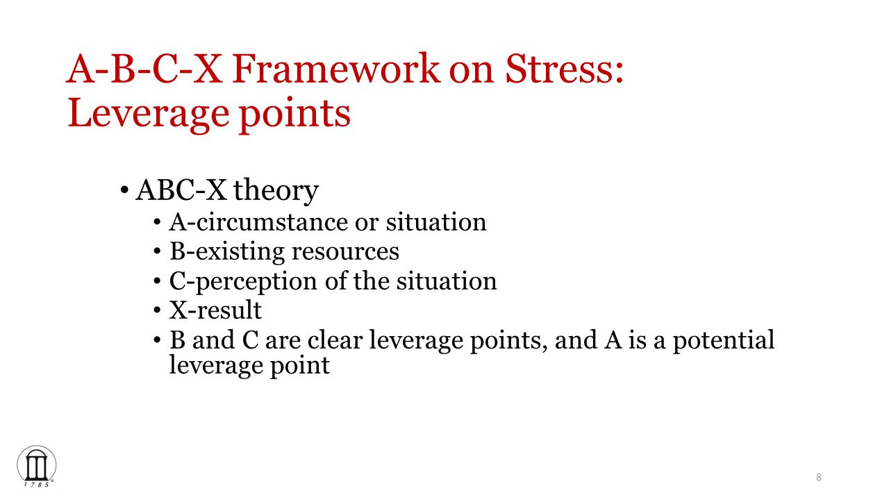A-B-C-X Framework on Stress: Leverage points ABC-X theory A-circumstance or situation B-existing resources C-perception of the situation X-result B and C are clear leverage points, and A is a potential leverage point 8