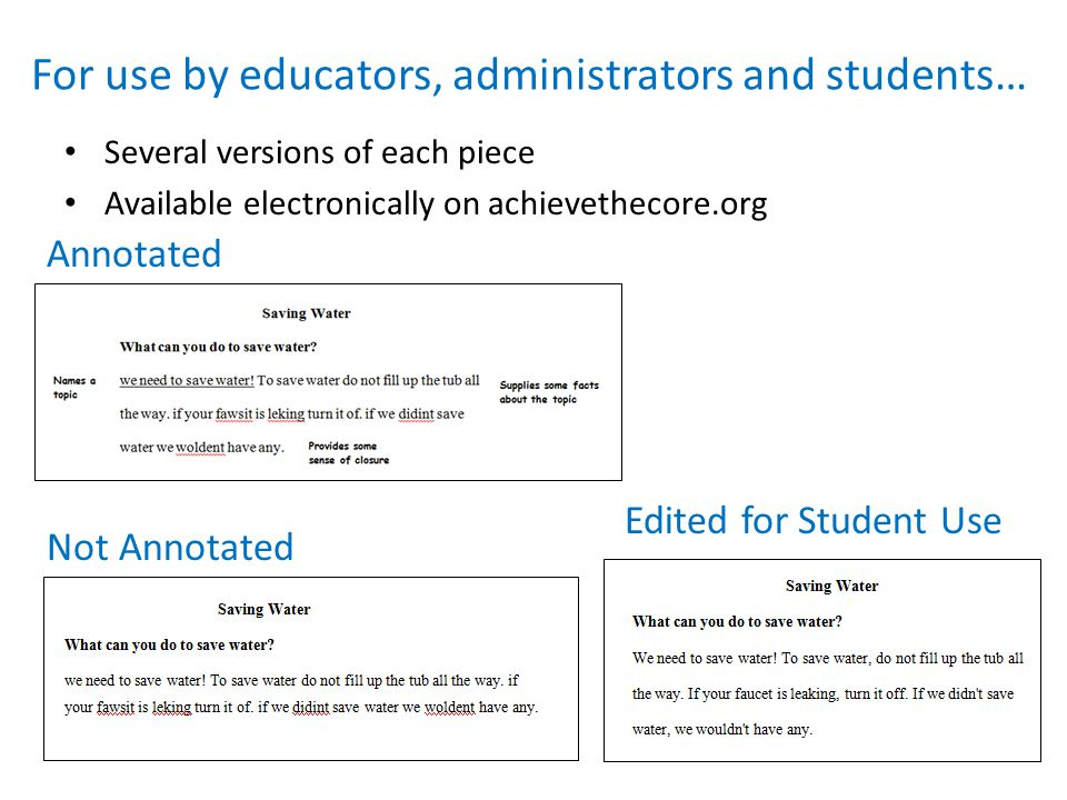 For use by educators, administrators and students… Several versions of each piece Available electronically on achievethecore.org Annotated Not Annotated Edited for Student Use