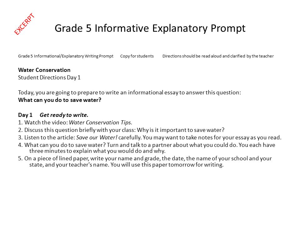 Grade 5 Informative Explanatory Prompt Grade 5 Informational/Explanatory Writing Prompt Copy for students Directions should be read aloud and clarifie
