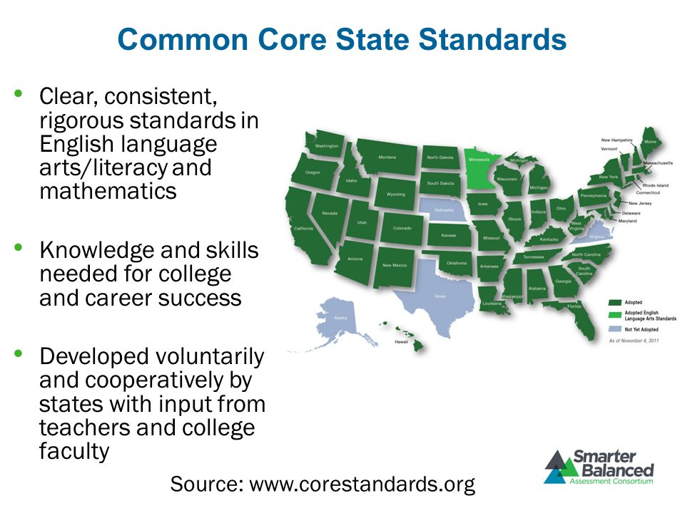 Common Core State Standards Clear, consistent, rigorous standards in English language arts/literacy and mathematics Knowledge and skills needed for co