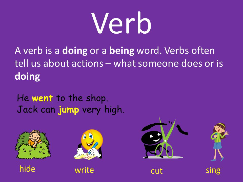 Verb A verb is a doing or a being word. Verbs often tell us about actions – what someone does or is doing He went to the shop. Jack can jump very high