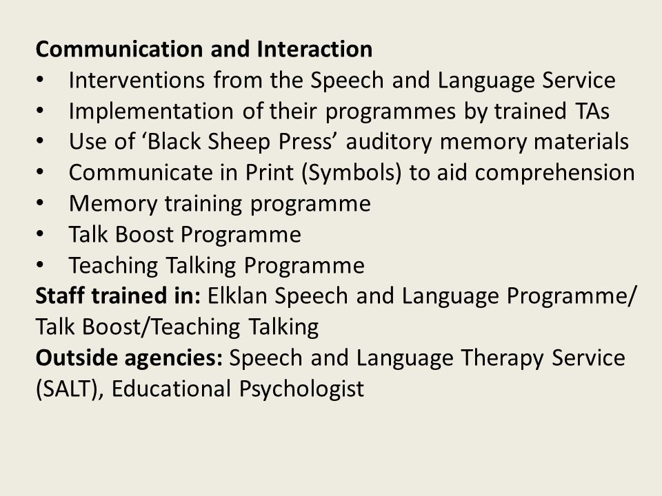 Communication and Interaction Interventions from the Speech and Language Service Implementation of their programmes by trained TAs Use of 'Black Sheep