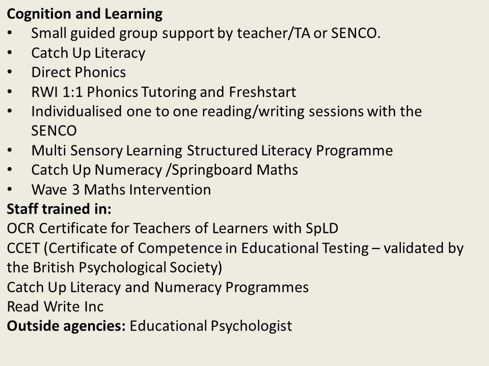 Cognition and Learning Small guided group support by teacher/TA or SENCO. Catch Up Literacy Direct Phonics RWI 1:1 Phonics Tutoring and Freshstart Ind
