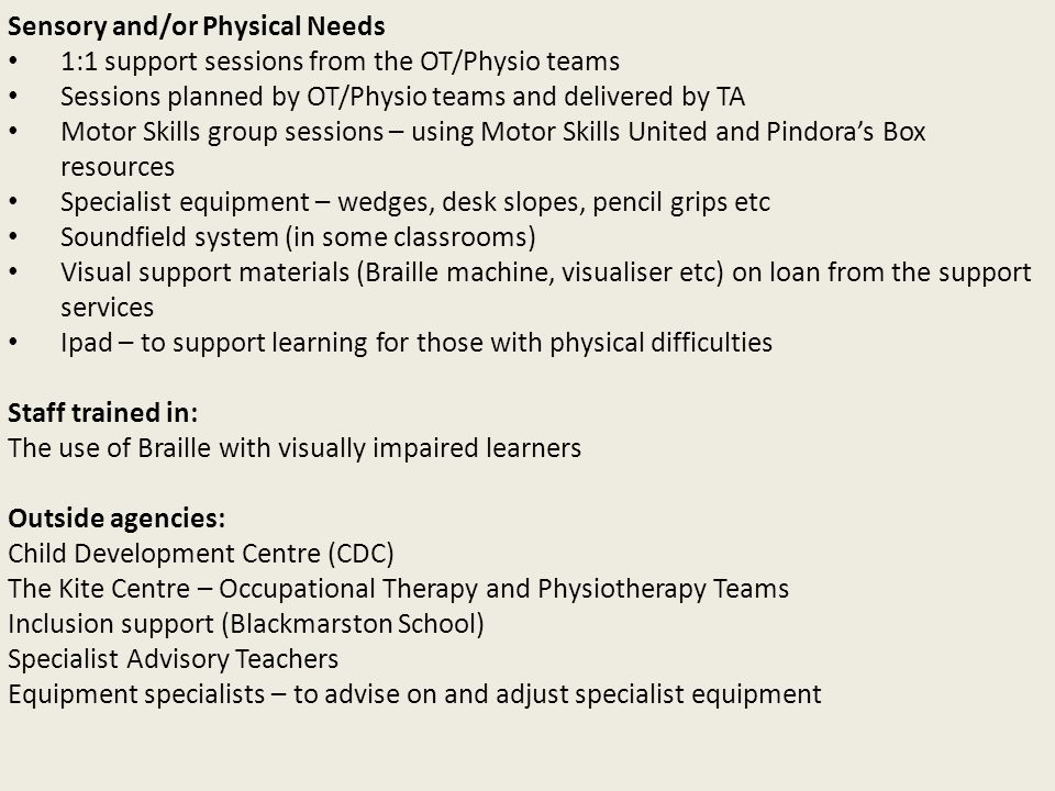 Sensory and/or Physical Needs 1:1 support sessions from the OT/Physio teams Sessions planned by OT/Physio teams and delivered by TA Motor Skills group