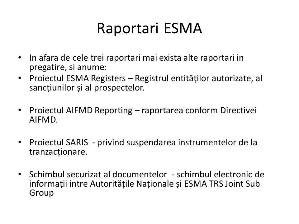 Raportari ESMA In afara de cele trei raportari mai exista alte raportari in pregatire, si anume: Proiectul ESMA Registers – Registrul entit ă ților autorizate, al sancțiunilor și al prospectelor.