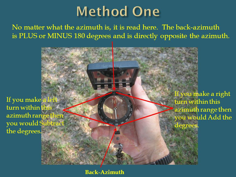 Back-Azimuth No matter what the azimuth is, it is read here. The back-azimuth is PLUS or MINUS 180 degrees and is directly opposite the azimuth. If yo