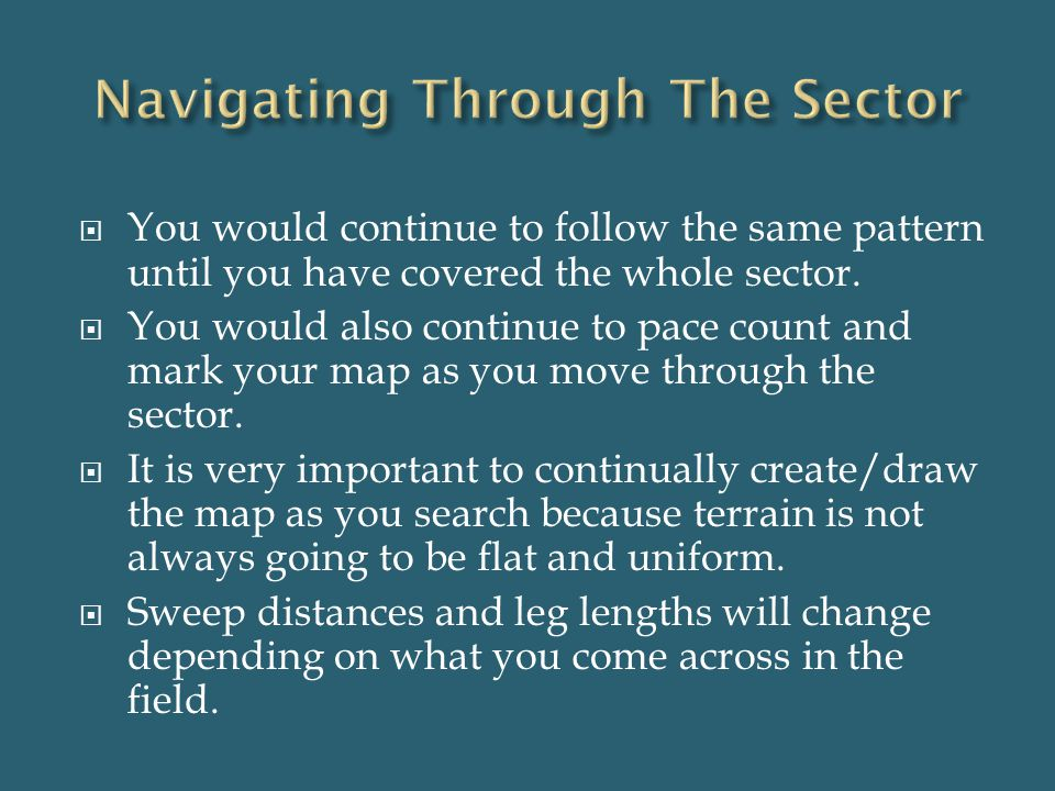  You would continue to follow the same pattern until you have covered the whole sector.  You would also continue to pace count and mark your map as