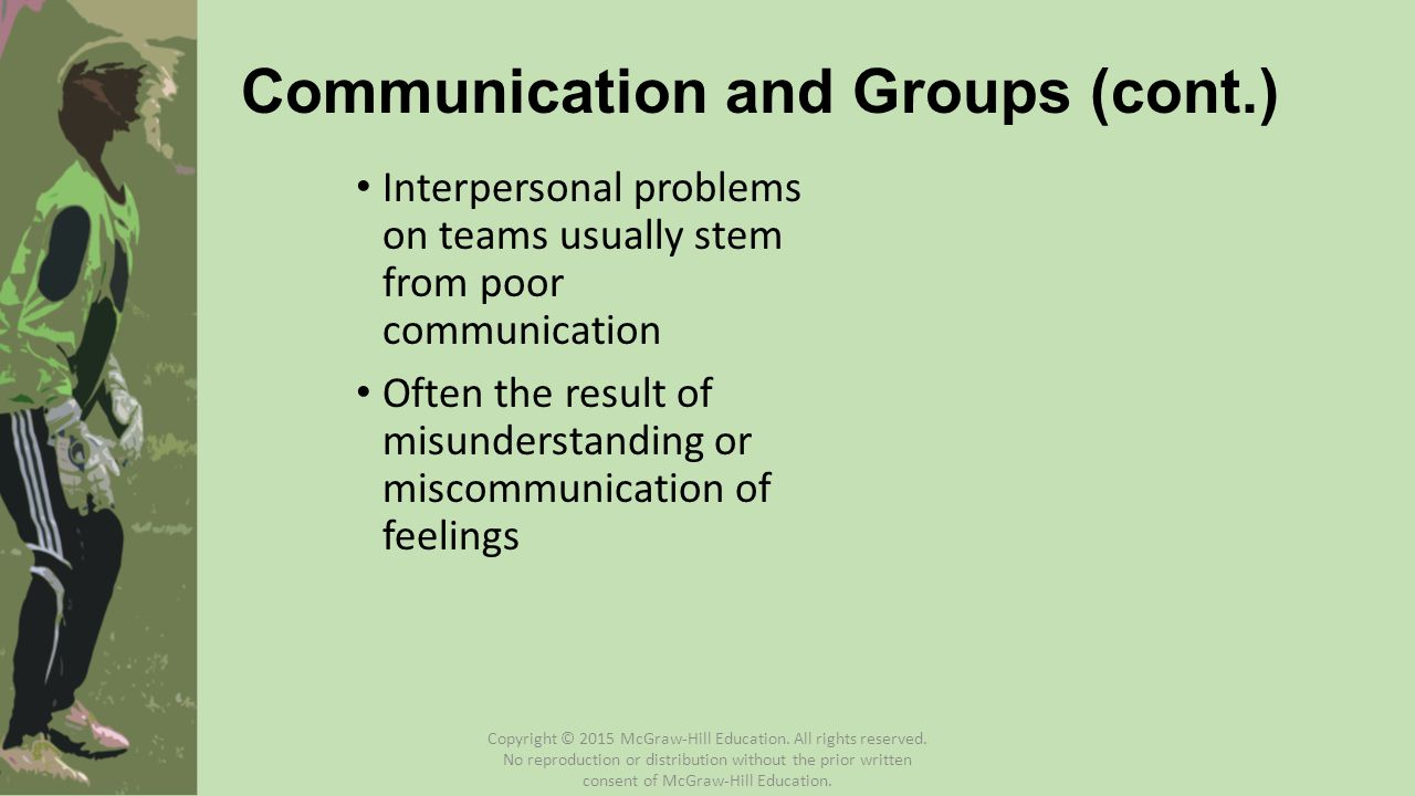 Group Misunderstandings Types of misunderstandings : 1.A difference of opinion resolvable by common sense 2.A clash of personalities in the group 3.A conflict of task or social roles among group members 4.A struggle for power between one or more individuals 5.A breakdown of communication between the leader and the group or among members of the group itself Henschen and Miner (1989) Copyright © 2015 McGraw-Hill Education.