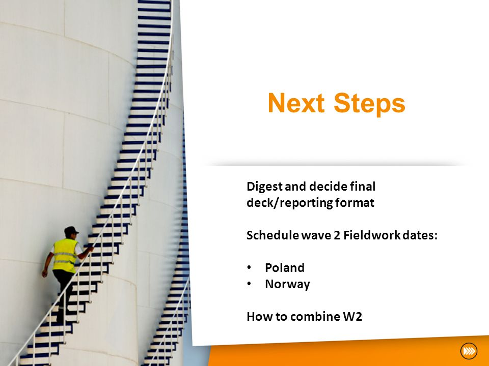 Next Steps Digest and decide final deck/reporting format Schedule wave 2 Fieldwork dates: Poland Norway How to combine W2