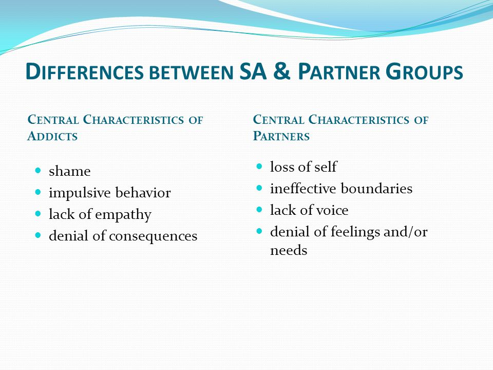 D IFFERENCES BETWEEN SA & P ARTNER G ROUPS C ENTRAL C HARACTERISTICS OF A DDICTS C ENTRAL C HARACTERISTICS OF P ARTNERS shame impulsive behavior lack of empathy denial of consequences loss of self ineffective boundaries lack of voice denial of feelings and/or needs