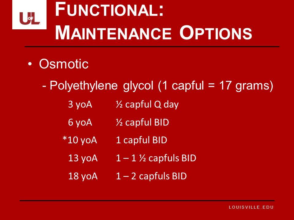 LOUISVILLE.EDU Osmotic -Polyethylene glycol (1 capful = 17 grams) 3 yoA½ capful Q day 6 yoA½ capful BID *10 yoA1 capful BID 13 yoA1 – 1 ½ capfuls BID