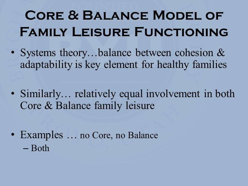 Core & Balance Model of Family Leisure Functioning Systems theory…balance between cohesion & adaptability is key element for healthy families Similarly… relatively equal involvement in both Core & Balance family leisure Examples … no Core, no Balance – Both