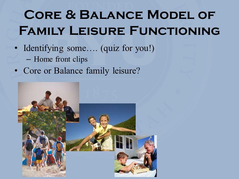 Core & Balance Model of Family Leisure Functioning Identifying some….