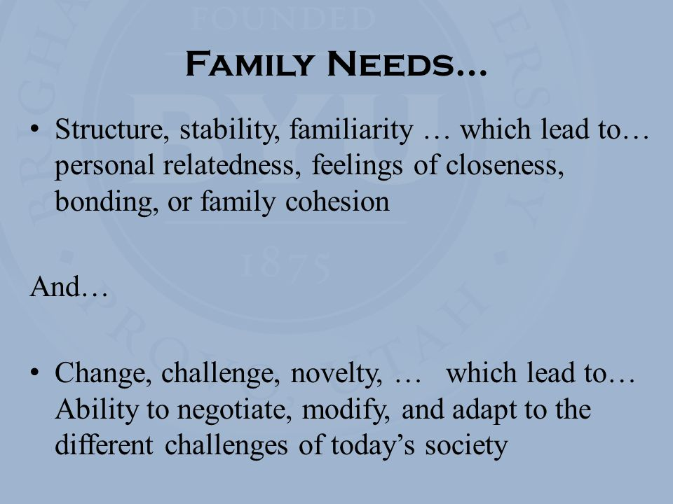Family Needs… Structure, stability, familiarity … which lead to… personal relatedness, feelings of closeness, bonding, or family cohesion And… Change, challenge, novelty, … which lead to… Ability to negotiate, modify, and adapt to the different challenges of today's society