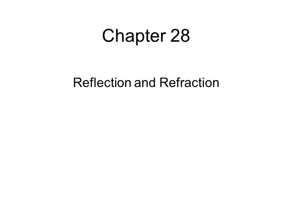 Chapter 28 Reflection and Refraction