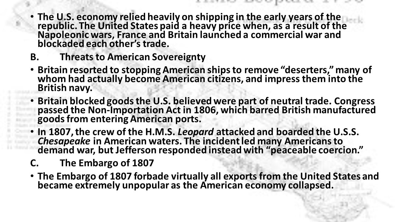 The U.S. economy relied heavily on shipping in the early years of the republic.