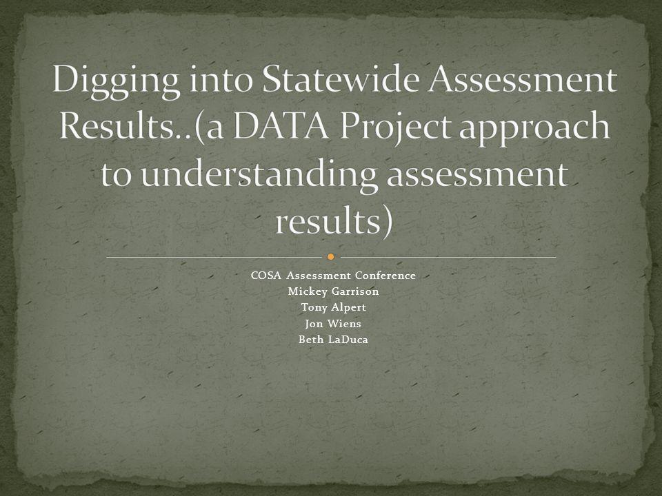 COSA Assessment Conference Mickey Garrison Tony Alpert Jon Wiens Beth LaDuca