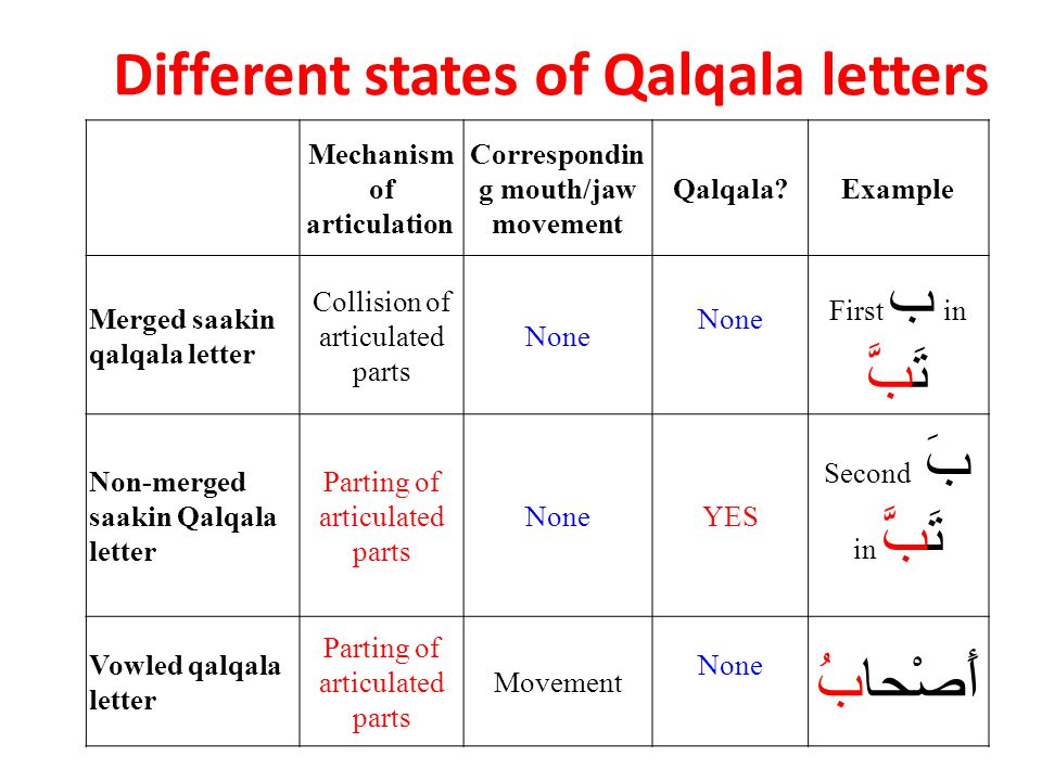 Different states of Qalqala letters Mechanism of articulation Correspondin g mouth/jaw movement Qalqala?Example Merged saakin qalqala letter Collision