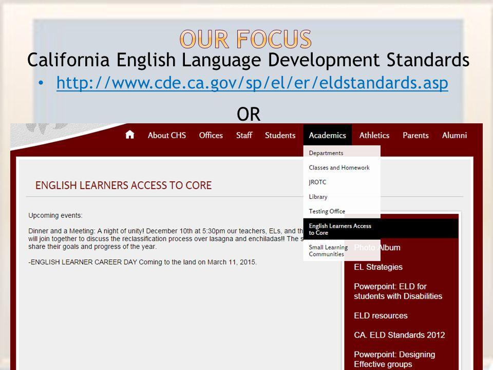 California English Language Development Standards OR http://www.cde.ca.gov/sp/el/er/eldstandards.asp