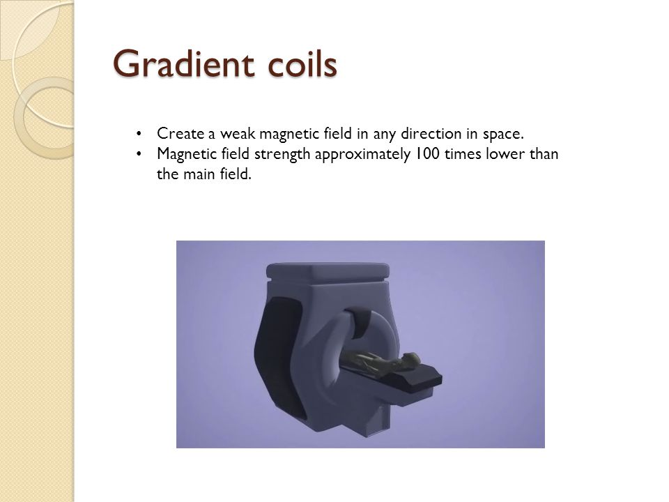 Gradient coils Create a weak magnetic field in any direction in space. Magnetic field strength approximately 100 times lower than the main field.