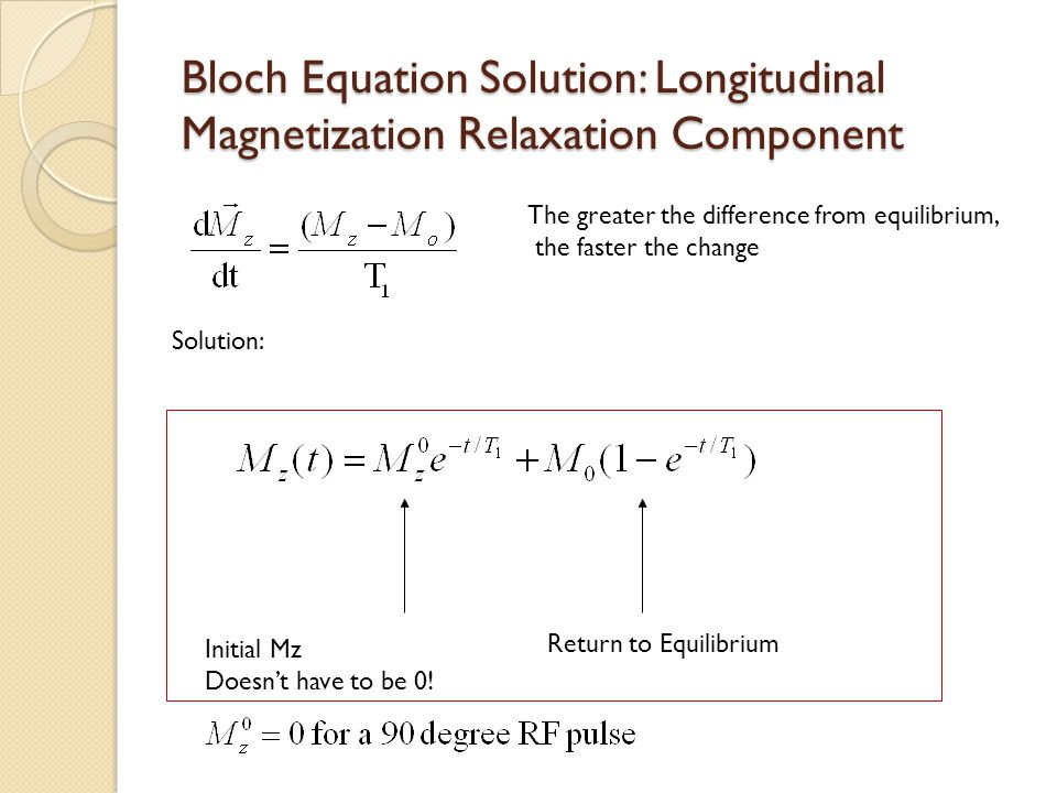 Bloch Equation Solution: Longitudinal Magnetization Relaxation Component The greater the difference from equilibrium, the faster the change Solution: