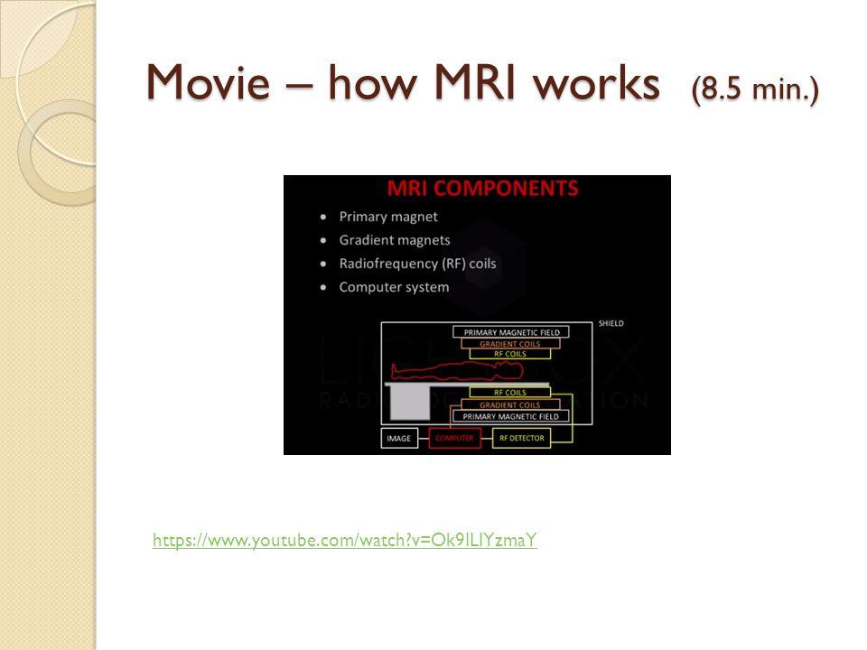 Movie – how MRI works (8.5 min.) https://www.youtube.com/watch?v=Ok9ILIYzmaY