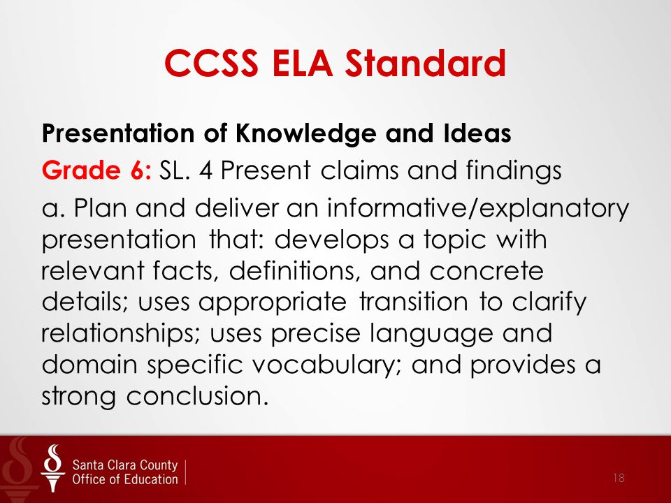 CCSS ELA Standard Presentation of Knowledge and Ideas Grade 6: SL.