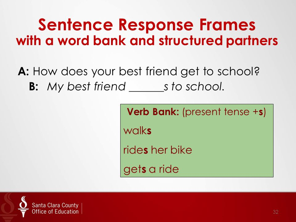 Sentence Response Frames with a word bank and structured partners A: How does your best friend get to school.