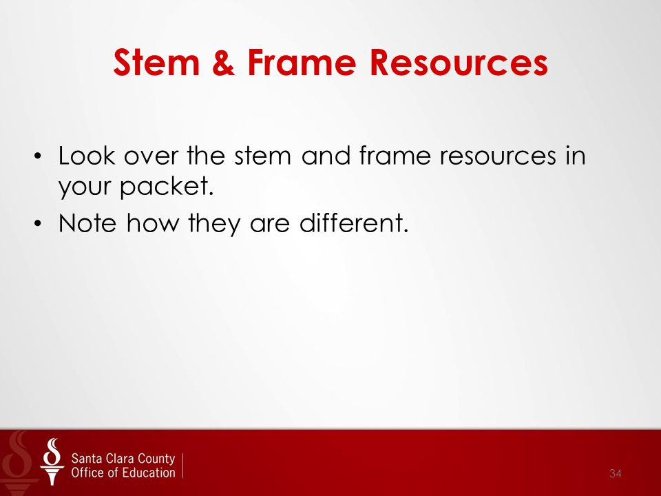 Stem & Frame Resources Look over the stem and frame resources in your packet.