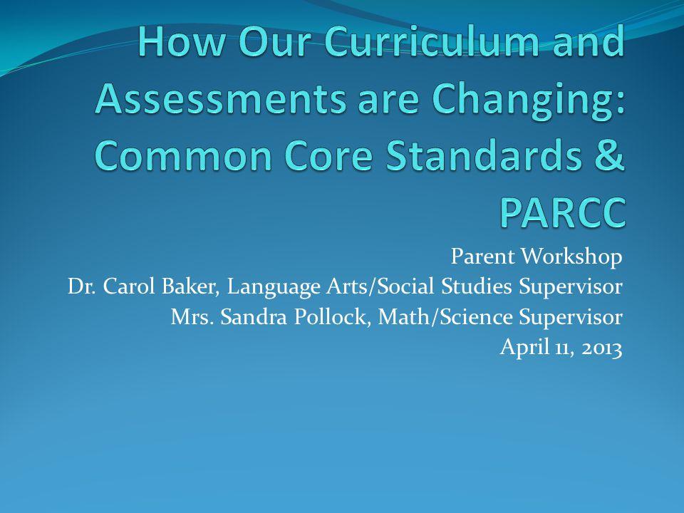 Parent Workshop Dr.Carol Baker, Language Arts/Social Studies Supervisor Mrs.