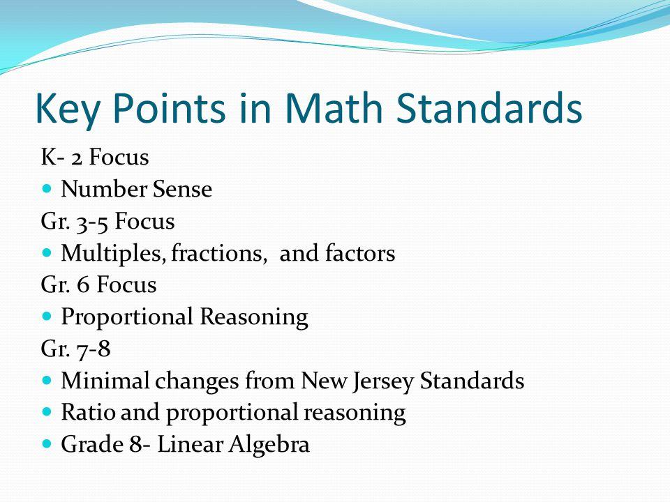 Key Points in Math Standards K- 2 Focus Number Sense Gr.