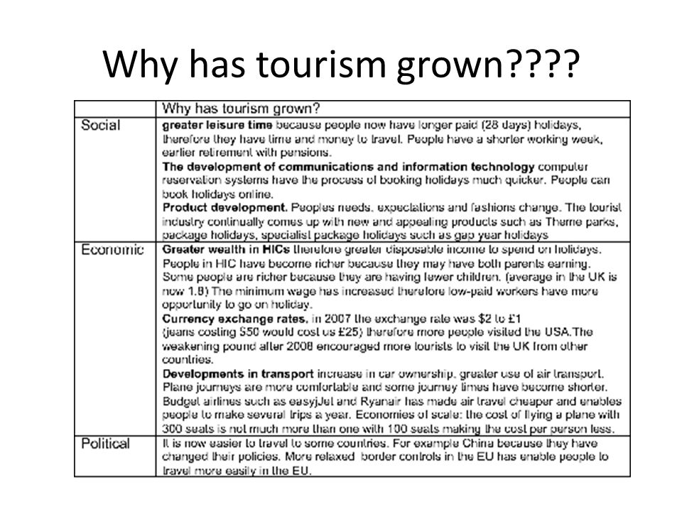 Why has tourism grown????