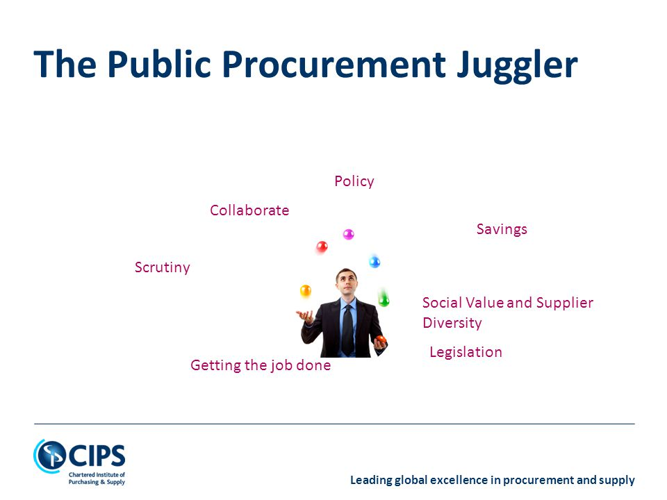 Leading global excellence in procurement and supply The Public Procurement Juggler Legislation Policy Savings Social Value and Supplier Diversity Scru