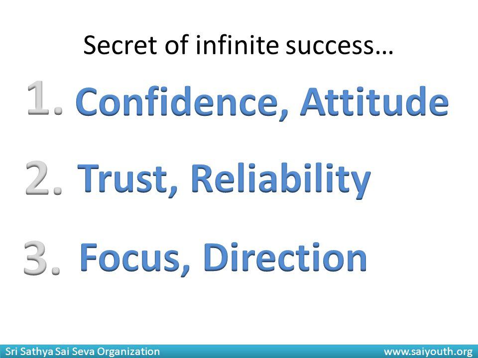 Sri Sathya Sai Seva Organization www.saiyouth.org Secret of infinite success…