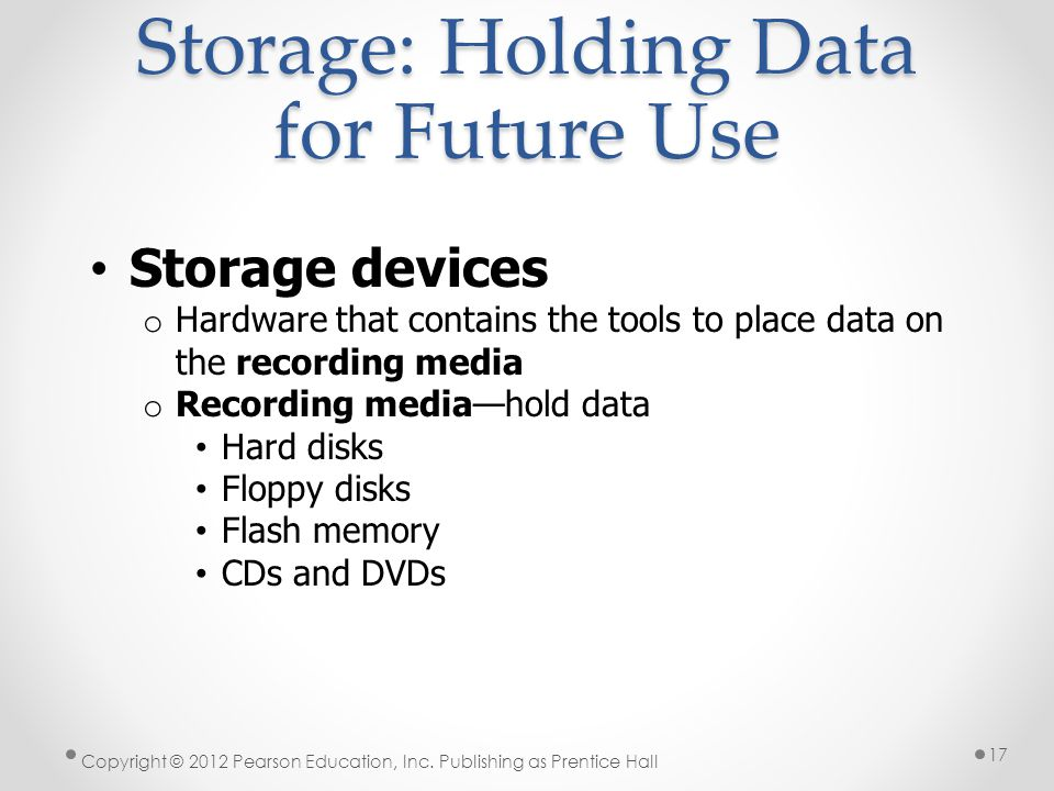 Storage: Holding Data for Future Use Storage devices o Hardware that contains the tools to place data on the recording media o Recording media—hold data Hard disks Floppy disks Flash memory CDs and DVDs Copyright © 2012 Pearson Education, Inc.