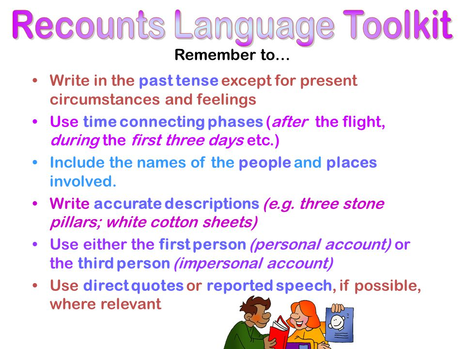 Remember to… Write in the past tense except for present circumstances and feelings Use time connecting phases (after the flight, during the first thre