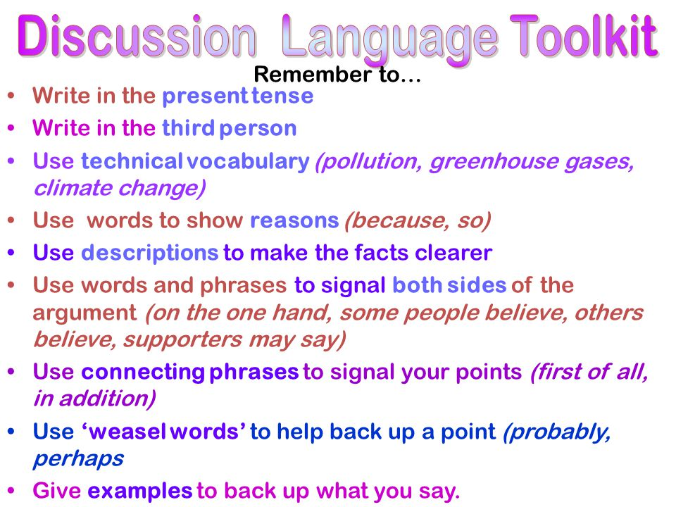 Remember to… Write in the present tense Write in the third person Use technical vocabulary (pollution, greenhouse gases, climate change) Use words to