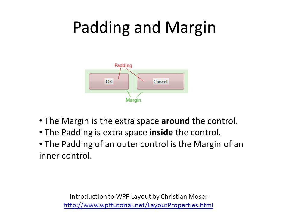 Padding and Margin Introduction to WPF Layout by Christian Moser http://www.wpftutorial.net/LayoutProperties.html The Margin is the extra space around the control.