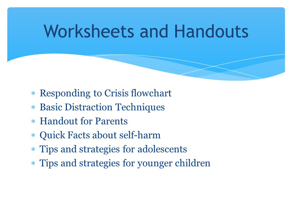 Welcome While we wait for others to join 1 Click on the – Self Harm Worksheets