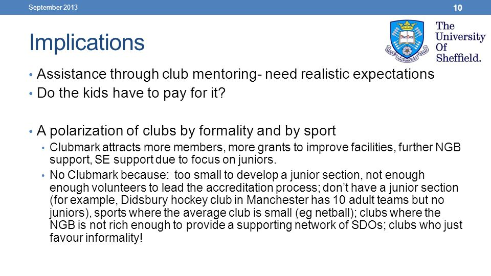 Implications Assistance through club mentoring- need realistic expectations Do the kids have to pay for it.