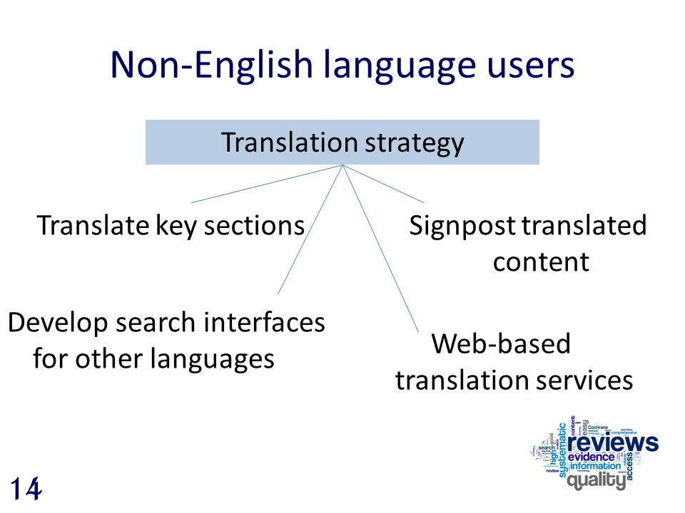 Non-English language users Translation strategy 14 Translate key sections Develop search interfaces for other languages Web-based translation services