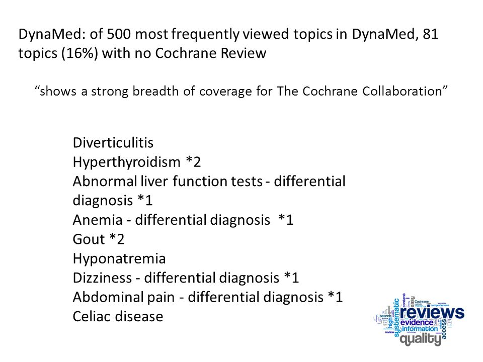 Diverticulitis Hyperthyroidism *2 Abnormal liver function tests - differential diagnosis *1 Anemia - differential diagnosis *1 Gout *2 Hyponatremia Dizziness - differential diagnosis *1 Abdominal pain - differential diagnosis *1 Celiac disease DynaMed: of 500 most frequently viewed topics in DynaMed, 81 topics (16%) with no Cochrane Review shows a strong breadth of coverage for The Cochrane Collaboration