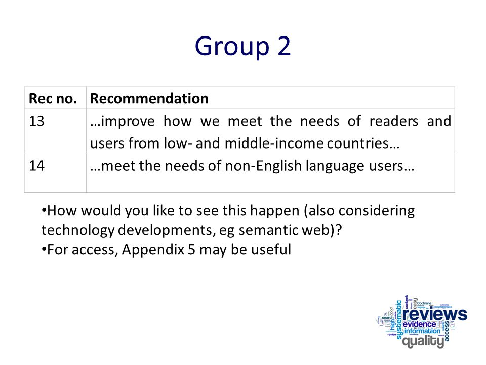 Group 2 Rec no.Recommendation 13 …improve how we meet the needs of readers and users from low- and middle-income countries… 14…meet the needs of non-E