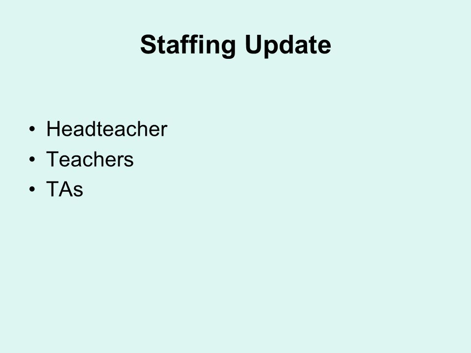 Staffing Update Headteacher Teachers TAs