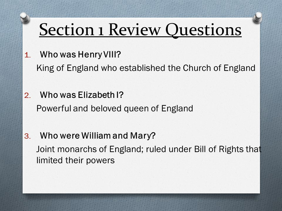 Section 1 Review Questions 4.What are two accomplishments of Elizabeth I's rule.
